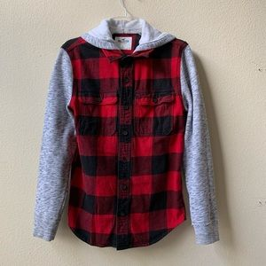 Hollister Long Sleeve Button Down Red Plaid Hoodie